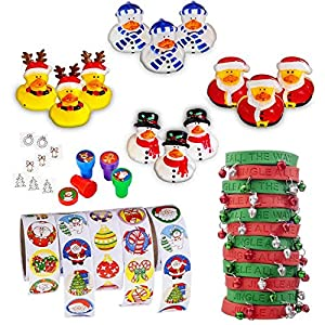 Christmas Stocking Stuffers Toy Assortment (Includes: 12 Cute Christmas Rubber Duckies, 12 Metal Jingel Bell Rubber Bracelets, 500 Christmas Stickers on Rolls, 12 Christmas Stampers, 12 Christmas Jewel Tattoos Easy to Apply and Remove Non-toxic) Greatest Christmas Stocking Stuffers Available