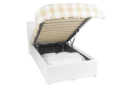 Ottoman cama - 90x190 - Blanco - Cama con espacio de almacenamiento, fácil de usar, fácil de montar, gran calidad, diseño atemporal, imitación de cuero, 1 año de garantía