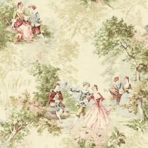 Wallpaper designer french victorian toile faux tapestry for Old french wallpaper