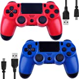 Wireless Controllers for PS4 Playstation 4 V2 Dual Shock (Blue and Red) (Color: Red and Blue)