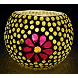 Indian Handmade Paint Work Design Mosaic Glass Candle Holder 3 Inch - B06X194K8L
