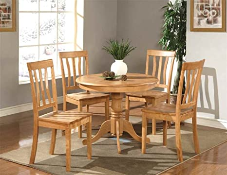 Antique 36 in. Round Table Set in Oak Finish