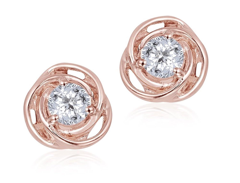 Diamond Studs Forever – Solitaire-Ohrringe/Ohrstecker – 0,5 ct. Diamanten GH/I1 – Rotgold 14 Karat als Geschenk