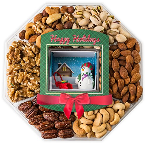 LARGE Happy New Year Holiday Gift Baskets Fresh Variety of Gourmet Nuts - Miniature Handmade Snowman and Sleigh - Top Gifts Idea for Christmas Holiday Men Women and Family (Mini Wishes)