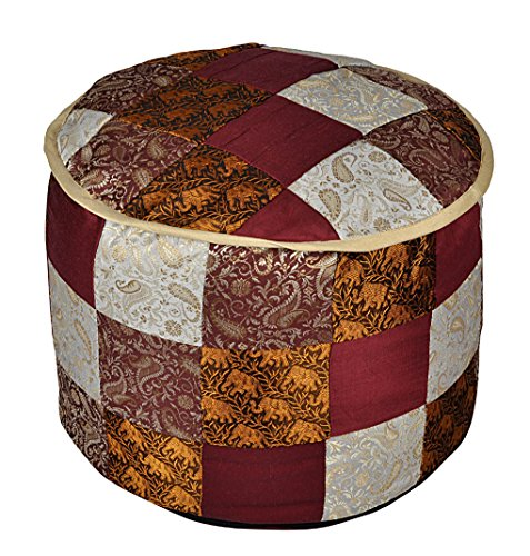 Pouf Ottoman Round Indian Pouffe Brocade Silk Elephant Foot Stool Cover Pouf 17