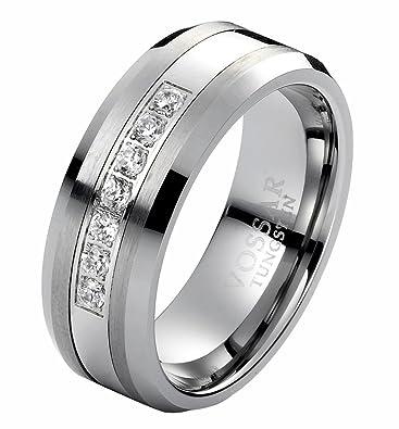 8mm Diamond Tungsten Carbide Men's Wedding Ring Band Modern Bridal 0.21 Ct
