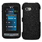 Black Diamante Protector Cover(Diamante 2.0) for LG GR700 (Vu Plus)