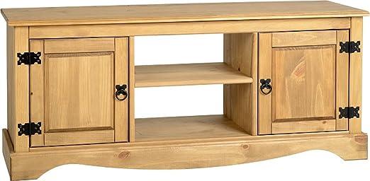 Corona Mexican 2 1 estante para puerta mueble para televisor plano pino encerado de estilo envejecido