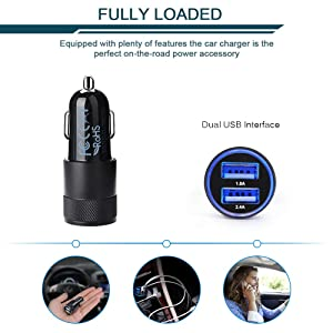 Car Charger, Ailkin 3.4a Portable Dual Port USB Cargador Carro Lighter Adapter for iPhone X XR XS Max 8 Plus 7s 6s, 11 Pro Max, iPad, Tablet, Samsung