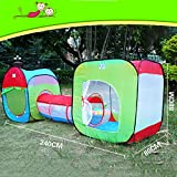 Roadacc (TM) Two Cubby One Tunnel 3 in 1 Children's Playground. Play Tent House and Tube for Kids Great for Fun Indoor and Outdoor