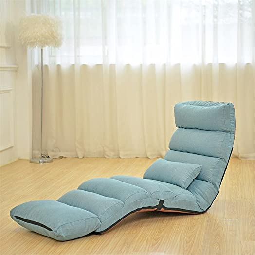 Lazy sofa Tatami Schienale spessore rilievo Divano divano Sedia a dondolo sdraio Dormitorio divano letto singolo Sedia pieghevole allungata Divano letto singolo , blue , A