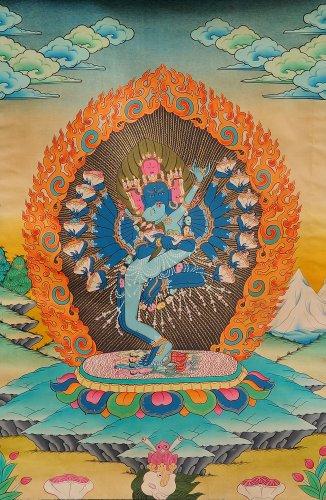 Hevajra in Yab Yum - Tibetan Thangka Painting