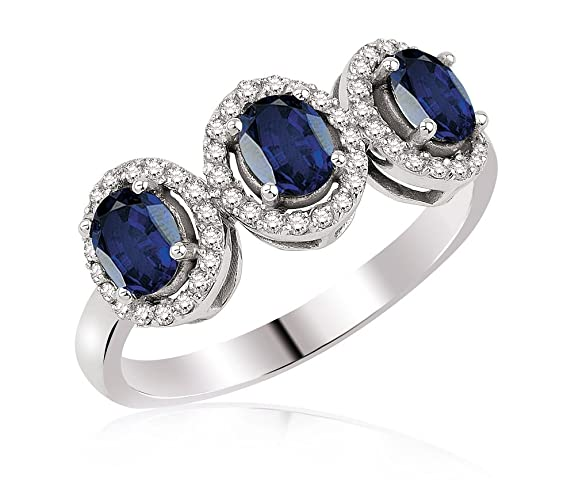 1.55 Carats 18k Solid White Gold Blue Sapphire and Diamond Engagement Wedding Bridal Promise Ring Band