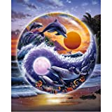 Moohue 14CT Counted Cross Stitch Kits Dolphin at Dusk Cross Stitch Pattern DMC Cotton Thread NeedleCraft Kits (Dolphin at Dusk) (Color: Dolphin at dusk)