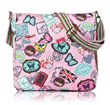 Accessorize-me London Print PINK Crossbody Everyday Messendger Canvas Bag GZ21F
