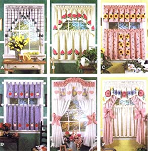 Simplicity 8924 Sewing Pattern Valance Swags Cafe Curtains Curtain Panels Tabs Home