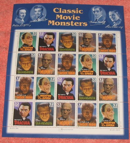 Classic Movie Monsters Collectible Stamp 32 Cent Sheet Scott 3168 - 1
