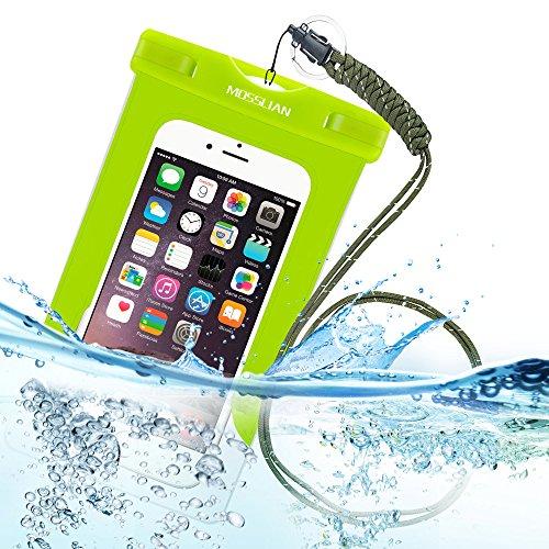"""MOSSLIAN 6"""" Custodia Impermeabile Universale per Telefono Cellulare Piscina Nuoto Drift Surf Sci Pesca Immersioni ecc sport acquatici / iphone 6s plus, iphone 6, Asus ZenFone 2, Sumsung Note 2 3 4 (Verde (W/O band))"""