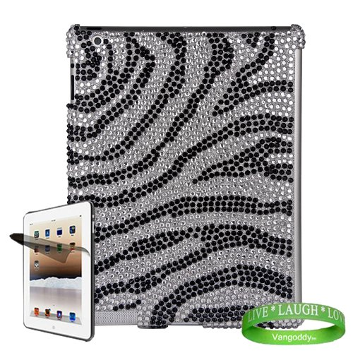 Bedazzled Diamond Zebra Cover Hard Case for all models of The New Apple iPad ( 3rd Generation, iPad3, wifi , + AT&T 3G , 16 GB , 32GB , MC707LL/A , MD328LL/A , MC705LL/A , MC706LL/A , MD329LL/A , MD368LL/A , ect.. ) + Pre Cut iPad 3 Screen Protector with Anti Glare + Live Laugh Love Vangoddy Wrist Band!!!