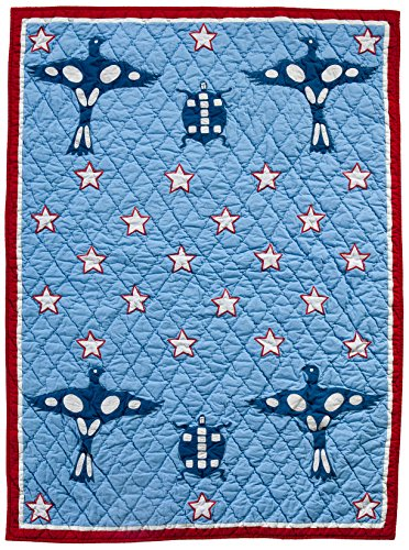 "Divine Baby Native American Boy Brave, Blue, 33"" x 44''"