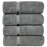 Luxury Hotel & Spa Towel 100% Genuine Turkish Cotton (Bath Towel  - Set of 4, Gray)