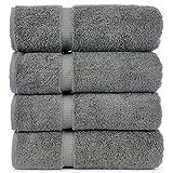 Luxury Hotel & Spa Towel 100% Genuine Turkish Cotton (Bath Towel  - Set of 4, Gray)