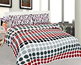 BeautifulHOMES Mejestic Cotton Double Bedsheet With 2 Pillow Cover - Red and Black