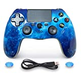 ISHAKO Double Shock PS4 Controller Wireless PS4 Controller for Sony Playstation 4 Remote, Six-axis Bluetooth Gamepad Joystick Controller (Blue) (Color: Blue)