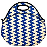 Snoogg Navy Blue Waves 2501 Travel Outdoor Carry Lunch Bag Picnic Tote Box Container Zip Out Removable Carry Lunchbox Handle Tote Lunch Bag Food Bag For School Work Office