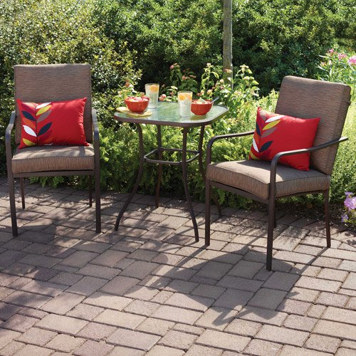 Crossman 3 Piece All Weather Square Outdoor Bistro Furniture Patio Set,  Glass Top Table, 2 Chairs, Full Set, Quality UV Protected Material. - Crossman 3 Piece All Weather Square Outdoor Bistro Furniture Patio