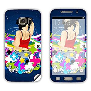 Skintice Designer Mobile Skin Sticker for Samsung Galaxy S6, Design - Girl Abstract