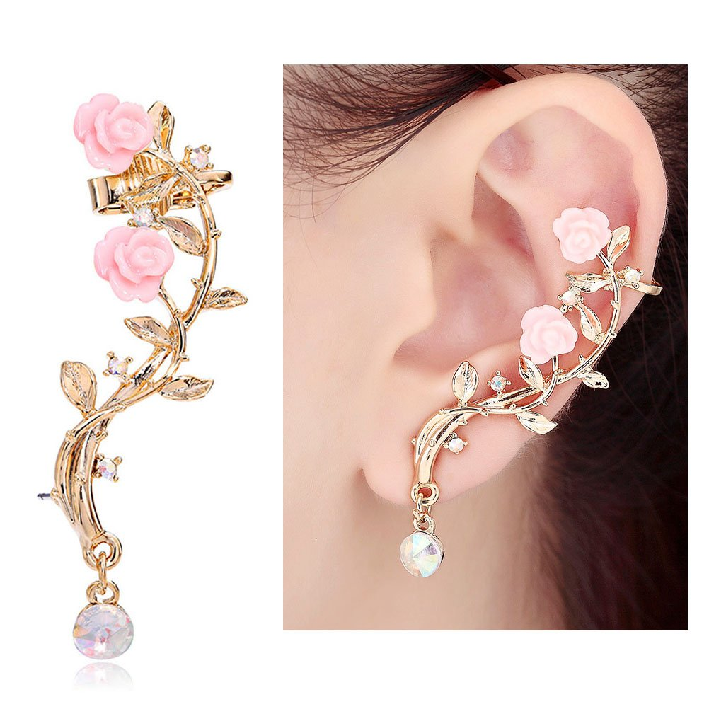 CIShop Pink Rose Diamond Ear cuff Earrings stud Punk Style Ear Wrap(left ear) punk rhinestone skull ear cuff