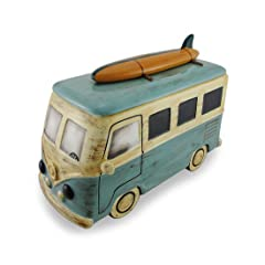 Ceramic Beach Bound Surfer Bus Cookie Jar 13 in.