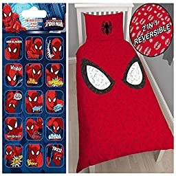 Spiderman Reflex Single/US Twin Duvet Cover Set + FREE Small Foil Stickers