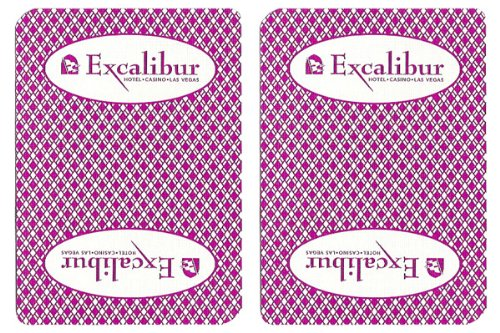 1 Deck Excalibur Casino Playing Cards Used In Real Casino - Free Bounty Button Kit