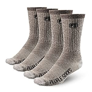 4 Pairs Heather Brown Mens 71% Merino Wool Mens Socks