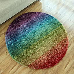 Super Cozy Fluffy Colorful Rainbow Rug Washable Non-slip Rug Floral Ornament Rugs Modern Bedroom Chairs Round Area Rugs (4\'0x4\'0, 2)
