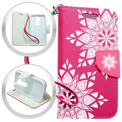 TAG - LG Stylo 2 LS775 Stylus - Slim Image Wallet PU Leather Case Premium Pouch ID Credit Card Cover Flip Folio Book Style w Money Slot Wrist Strap Phone Case Pink Henna