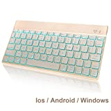 Wireless Bluetooth Keyboard Compatible with 2018 iPad Pro 11/12.9,iPad 9.7 Inch, iPad Air, iPad Mini and Other Bluetooth Enabled Devices,Ultra Slim Aluminum Keyboard with 7 Colors Backlit (Color: gold)