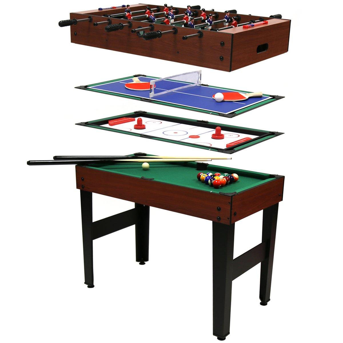 Multi-Spieltisch 4 in 1 – Poolbillard, Tischfußball, Tischhockey & Tischtennis online bestellen