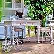 Tisch-ausziehbar-8020090-mit-mittiger-Platte-50-cm-Landhaus-vintage-Echtholz-massiv-Wei-matt
