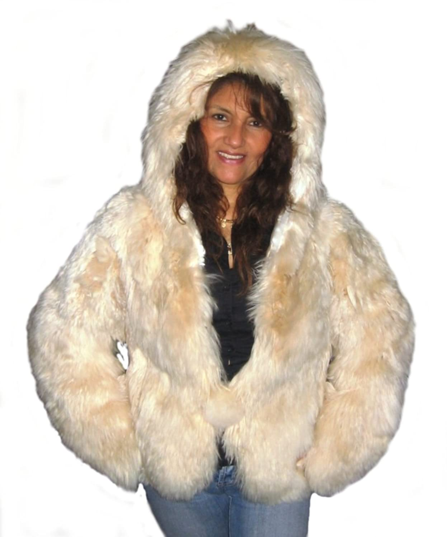Alpacaandmore Damen Babyalpaka Pelzjacke Bolero aus Peru Große Kapuze