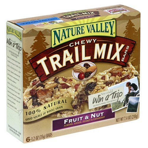 Nature Valley Chewy Trail Mix Bars, Fruit & Nut, 6-Count Boxes (Pack of 12)