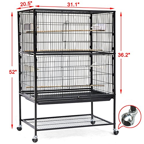Bird Parrot Cage Chinchilla Cockatiel Conure Large Cockatiel House Metal Wheels (Shoe Trees Extra Large compare prices)