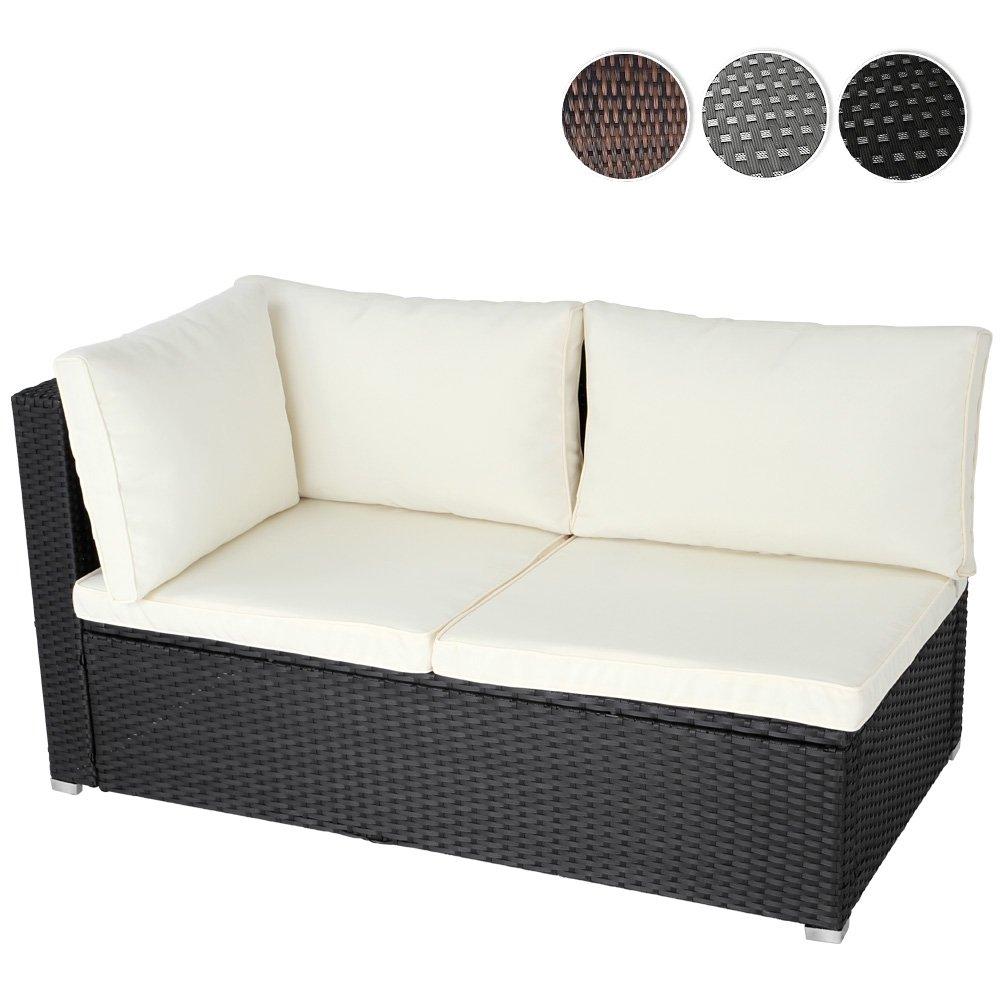 Ecksofa für bis zu 2 Personen aus Polyrattan Gartenmöbel inkl. Sitzkissen -Farbwahl- schwarz, grau oder braun bestellen