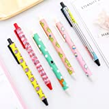6 Pack Cute Cartoon Retractable Gel Ink Pen Cactus Black Rollerball Maker Pens 0.5mm School Stationery Exam Writing Fine Point Pen Nurse Office Supplies Student Award Birthday Gift for Kids Children (Color: 6 Pack)