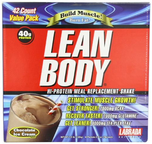 Labrada Carb Watchers Lean Body Hi-Protein Meal Replacement Shake, Chocolate Ice Cream, 2.29-Ounce Packets (Pack Of 42)