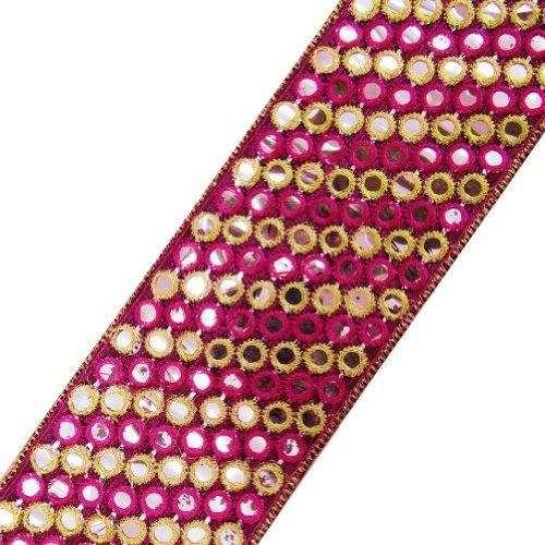 Pink Fabric Ribbon Trim Thread Embroidered Sequins Border Lace Sewing Craft 3 Yd