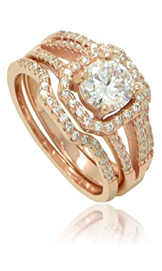 18K Rose Gold Flashed Sterling Silver Cubic Zirconia Set of 3 Round Halo Stacking Ring