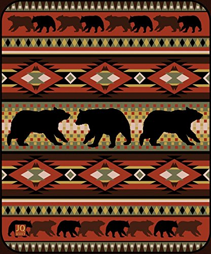 Black Bear Lodge High Quality Raschel Blush Queen Size Blanket front-38536